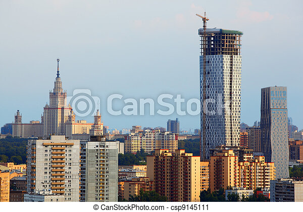 Modern multistory residential construction and MSU in Moscow, Russia - csp9145111