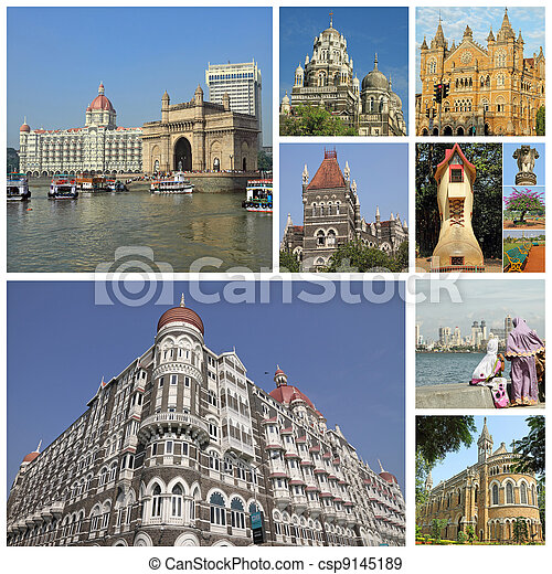 collage with landmarks of indian city Mumbai (formerly Bombay ) India, Asia - csp9145189