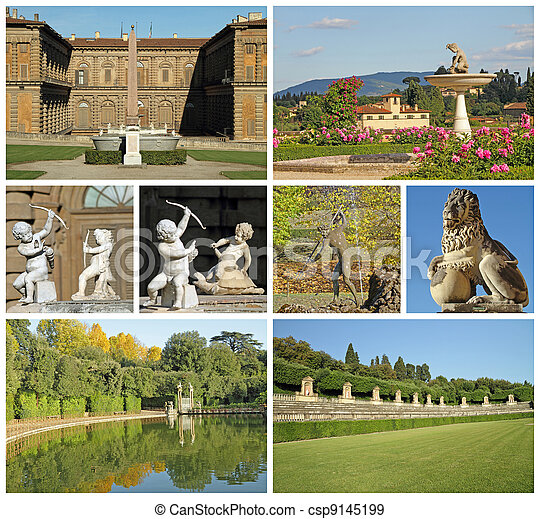 images of Pitti Palace and historic gardens of Medici in Florence - csp9145199