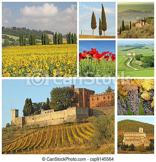 poster with beautiful italian landscape, Tuscany, Europe - csp9145564