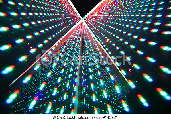 colorful bright illumination in nightclub, rows of bright lights - csp9145921