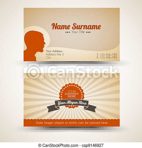 Vector old-style retro vintage business card - csp9146927