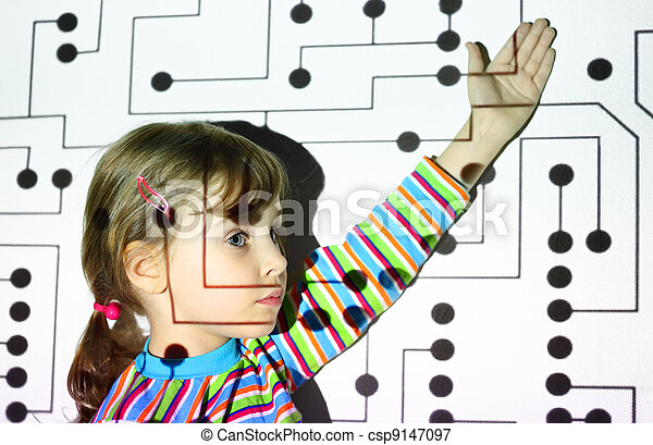 little girl in striped shirts shows on black circle on circuit, board, projector - csp9147097