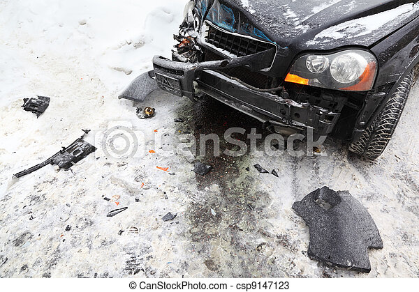 X 15 Crash ... - broken black car on road in winter; crash accident; crumpled hood