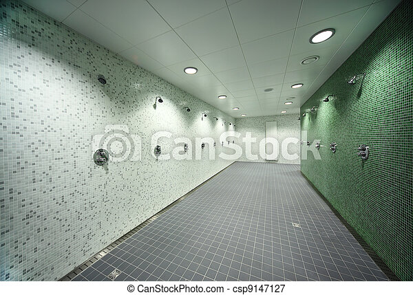 Archivi fotografici - grigio, pavimento, stanza, luce, pareti, doccia ...
