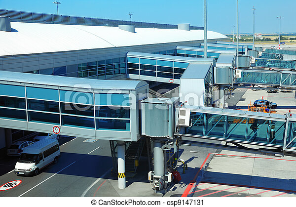 corridors for passengers in aircraft at airport. boarding passengers - csp9147131