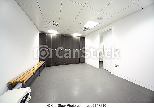 large clean locker room, gray floor and ceiling, black closet, bench near wall - csp9147210
