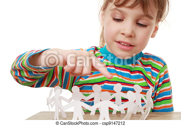 beautiful little girl in striped shirt play with garland of paper creatures - csp9147212
