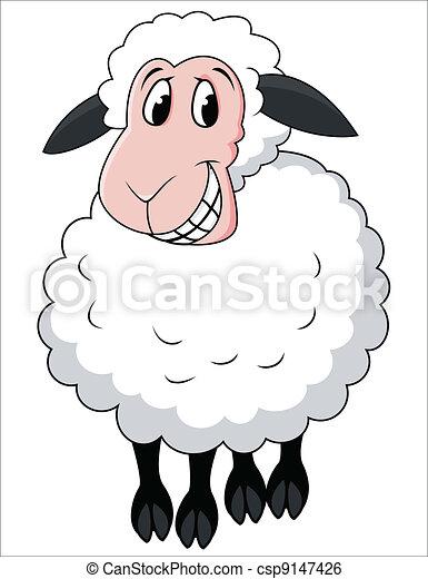 Smiling sheep cartoon - csp9147426