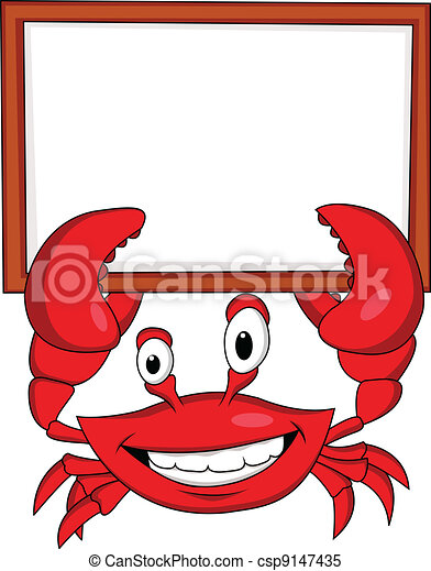 Crab with blank sign - csp9147435