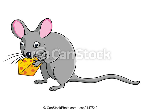 Cartoon rat with cheese - csp9147543