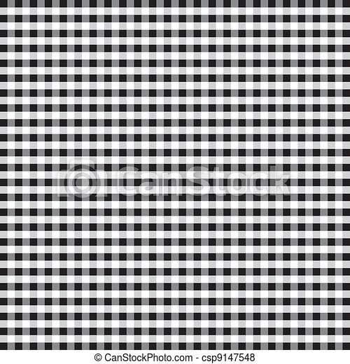 Seamless Pattern, Black Gingham - csp9147548