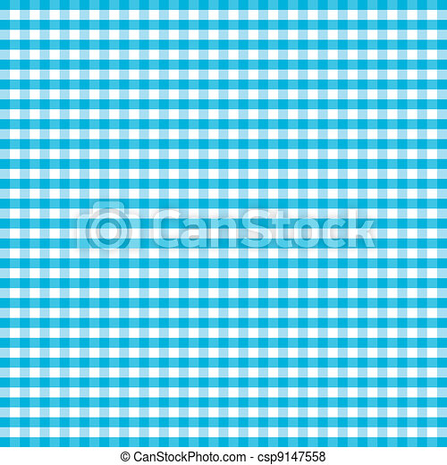 Seamless Pattern, Turquoise Gingham - csp9147558