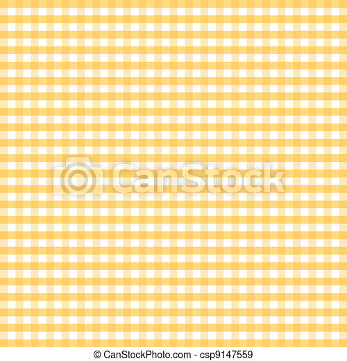 Seamless Pattern, Yellow Gingham - csp9147559
