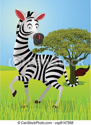 zebra cartoon in the jungle  - csp9147568