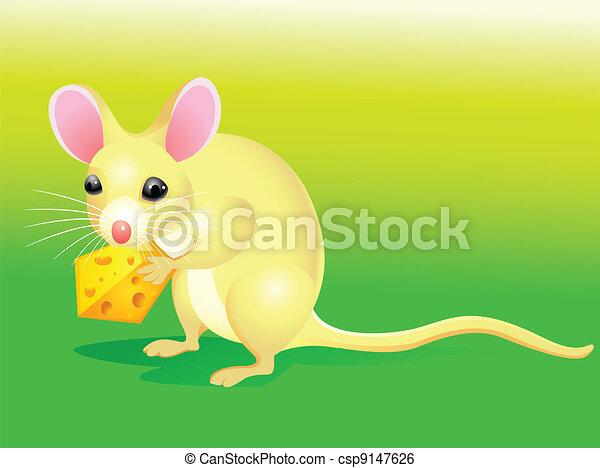 Cartoon rat with cheese  - csp9147626