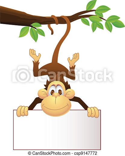 Chimp with blank sign - csp9147772
