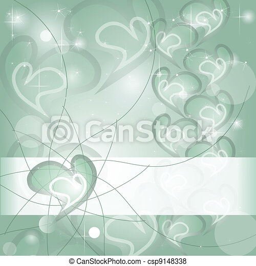 Aquamarine Heart wishing card - csp9148338
