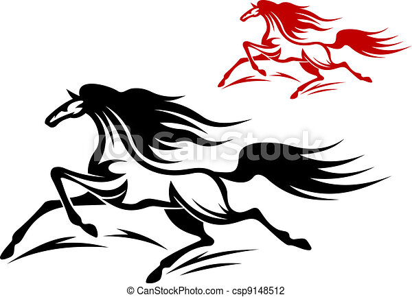Vector Illustration of Horse mascots - Two running horse mascots ...