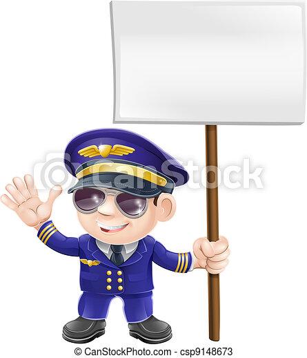 Cute pilot with sign character - csp9148673