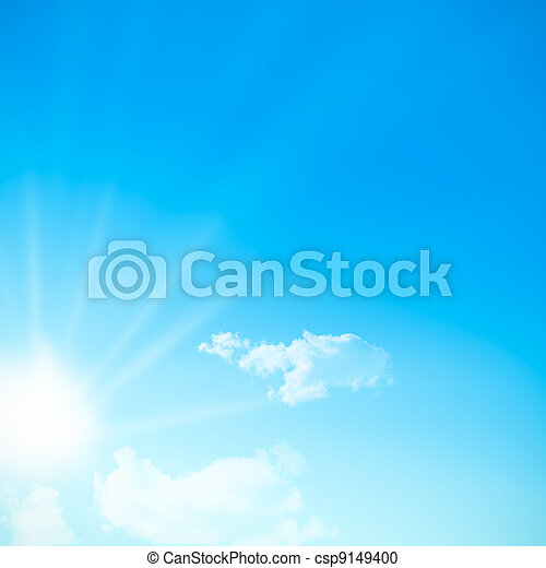 blue sky during a sunny day with sunlight. sun somes clouds, free space for text. Square image - csp9149400