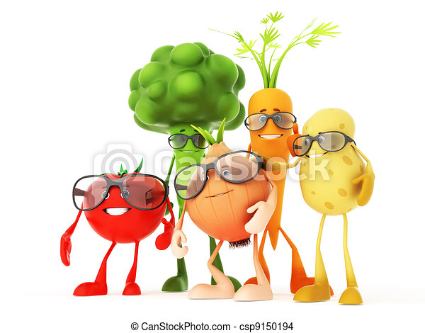 Drawing of Funny food characters - 3d rendered ...