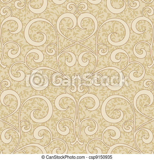abstract beige floral seamless background - csp9150935