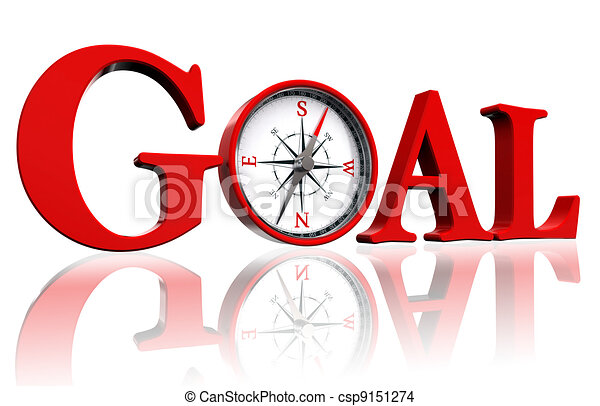 goal red word and conceptual compass - csp9151274