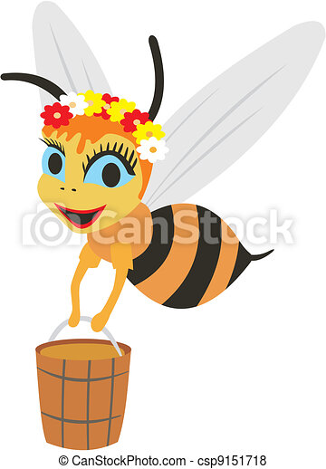 bee with a bucket of honey - csp9151718