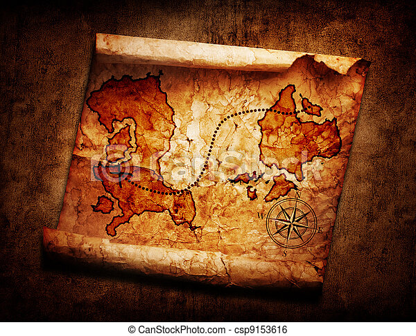 old treasure map on grunge background - csp9153616