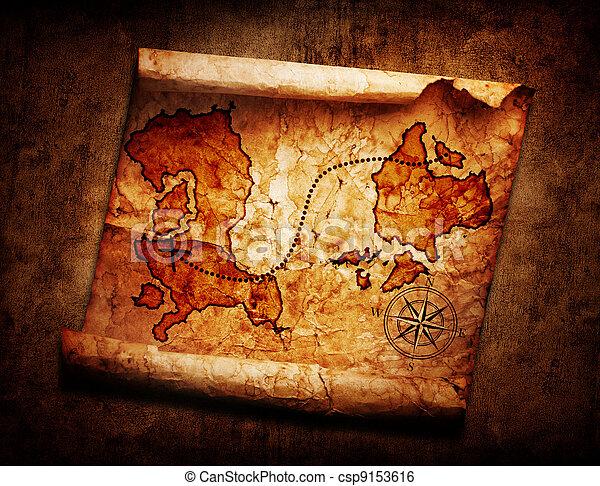 old treasure map on grunge background - csp9153616