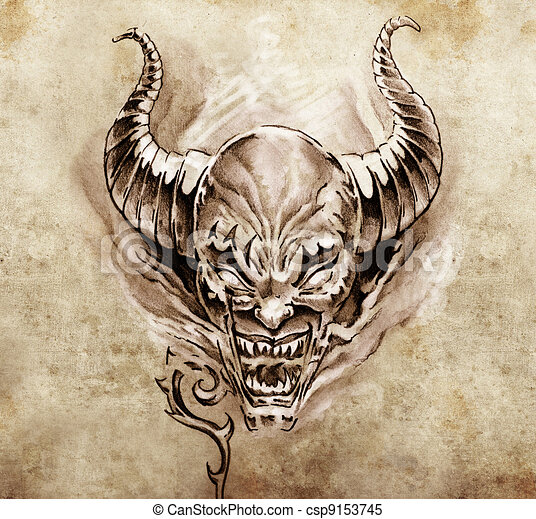Illustrations de tatouage art croquis de a diable - Photographie d art en ligne ...