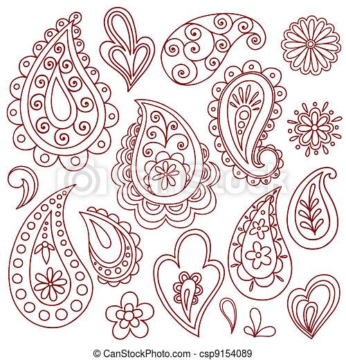 EPS Vectors of Henna Mehndi Tattoo Doodles Vectors - Hand-Drawn ...