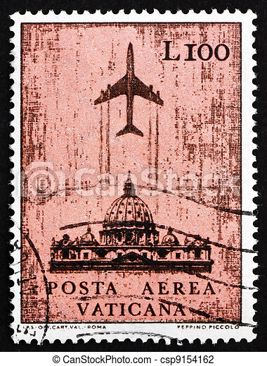Postage stamp Vatican 1967 Jet over St. Peter?s Cathedral - csp9154162