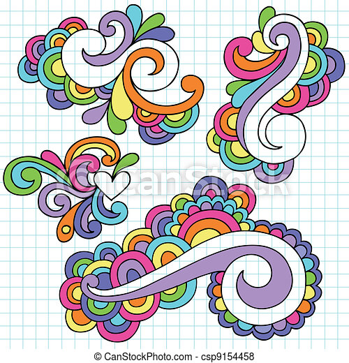 Vector Of Abstract Swirls Groovy Doodles Set