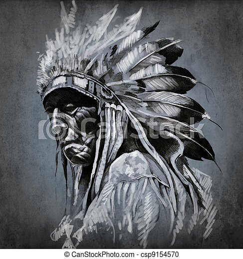 入れ墨, 頭, 上に, 暗い, アメリカ人,  indian, 背景, 肖像画, 芸術 - csp9154570