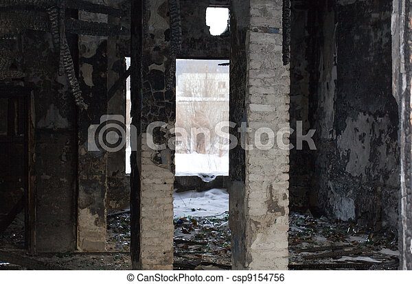 the remains of a ruined house in a terrible form of - csp9154756
