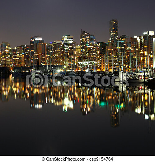Vancouver downtown night, Canada BC - csp9154764