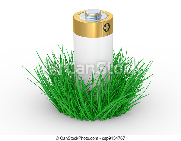 Green grass and battery, ecology concept - csp9154767