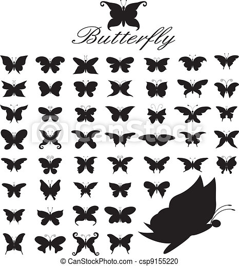 set of 50 butterflies. - csp9155220