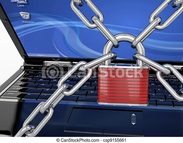 Pc security. Laptop with chain and lock - csp9155661