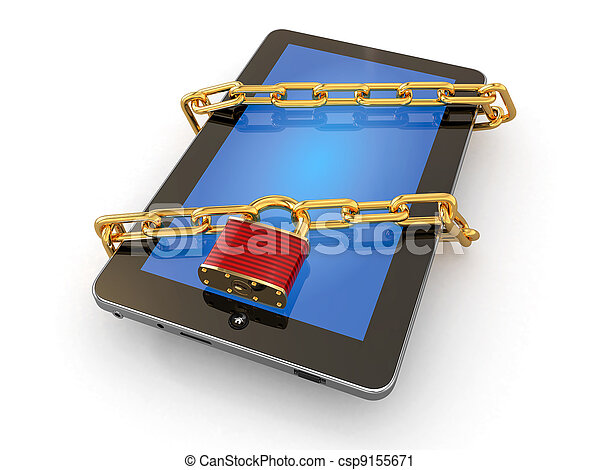 Tablet pc security. Chain with lock on computer. - csp9155671