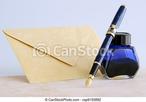 Fountain pen and ink  - csp9155892
