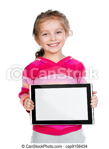 little girl with a Tablet PC - csp9156434