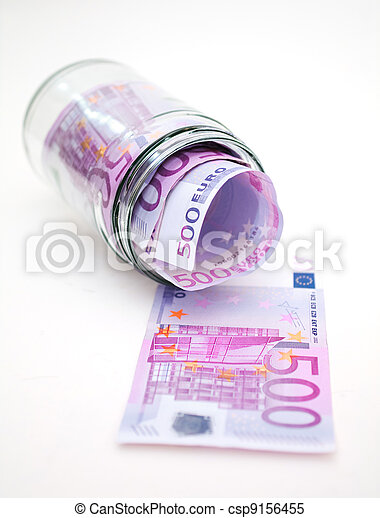 euro banknotes in money jar - csp9156455
