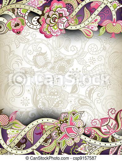 Oriental Floral Background - csp9157587
