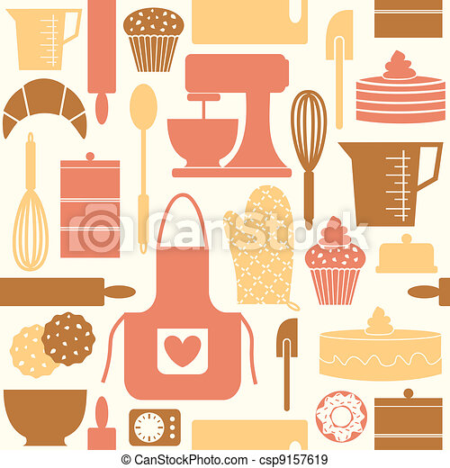 Retro Baking Background - csp9157619