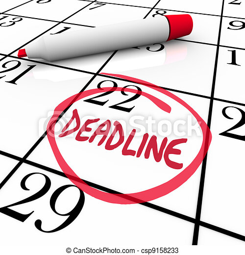 Deadline Word Circled on Calendar Due Date - csp9158233