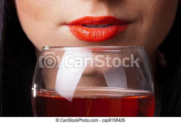 Red lips and glass of wine - csp9158426