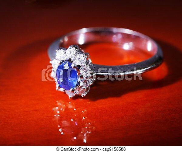 Platinum sapphire ring - csp9158588